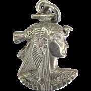 Vintage Sterling Nefertiti Pendant or Charm