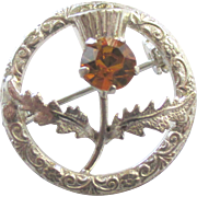 Vintage Ward Brothers Sterling Thistle Brooch with Glass Citrine