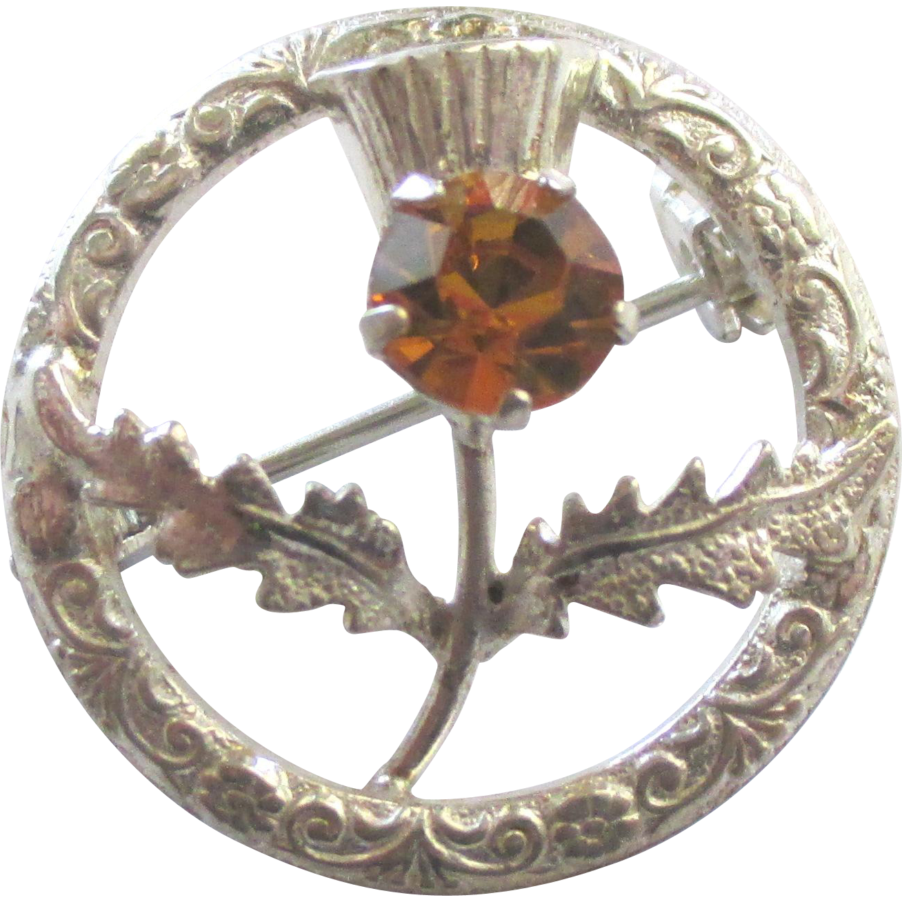 Vintage ward brothers sterling thistle brooch with glass for Jewelry making classes san diego