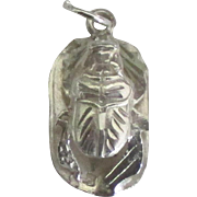 Vintage Sterling Egyptian Scarab Beetle Pendant or Charm
