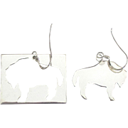 Artistic Signed Sterling Buffalo Cut Out Pierced Earrings