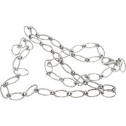 Lovely Sterling Textured Open Link 20 inch Chain Necklace