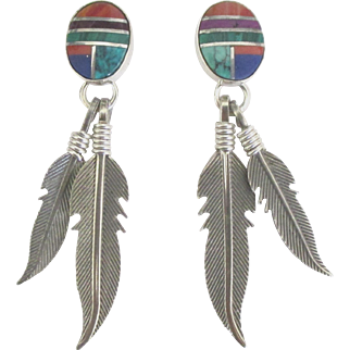 Lovely Southwest Inlaid Mineral Sterling Silver Feather Pierced Earrings