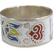 Vintage Wide Floral HP Enamel on Sterling Ring