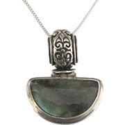 Sterling Labradorite Pendant and Chain with Fancy Bale