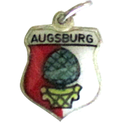 Vintage Enamel on Sterling Augsburg Germany Travel Shield Charm