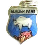Vintage Enamel Sterling Glacier National Park Travel Shield Charm