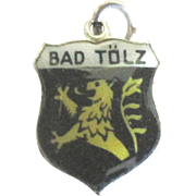 Vintage Enamel 800 Silver Bad Tolz Germany Travel Shield Charm