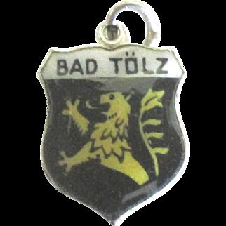 Vintage Enamel 800 Silver Bad Tolz Germany Travel Shield Charm