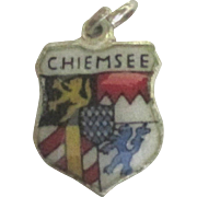 Vintage Enamel Sterling Vilseck Germany Travel Shield Charm