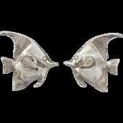 Lovely Signed Kabana Tropical Fish Pierced Earrings