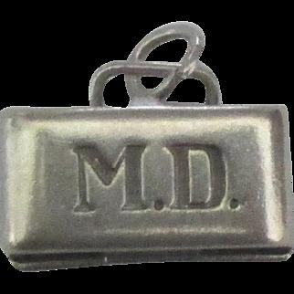 Vintage Sterling MD Doctor Bag Charm