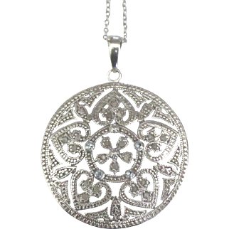 Lovely Large Sterling Diamond Pendant and Chain