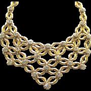 Sparkling Rhinestone Gold Tone Bib Style Necklace