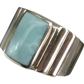 Chunky Sterling Blue Larimar Ring- Size 10