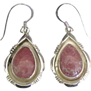 Vintage Sterling Rose Quartz Pierced Earrings