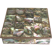 Stunning Vintage Brass Inlaid Abalone Box - Red Tag Sale Item