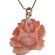 Beautiful Vintage Carved Rose Angel Skin Coral Pendant with GF Chain