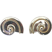 Vintage Sterling 14K Nautilus Shell Pierced Earrings