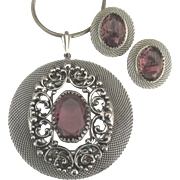 Beautiful Large Amethyst Glass Silver Tone Pendant Necklace with Earrings Set