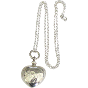 Lovely Sterling Puffy Heart Perfume Bottle Pendant and Chain