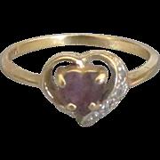 Feminine Vintage Amethyst Diamond Heart Ring- Size 6