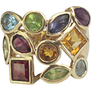Spectacular 14K Multiple Gemstone Ring- Size 6 1/4
