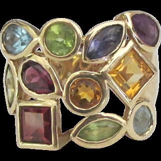 Spectacular 14K Multiple Gemstone Ring- Size 6 1/4