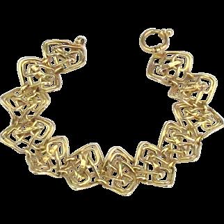 Stunning Vintage Italian 14K (585) Gold Bracelet with Wide Open Work Links