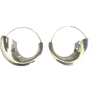 Large Sleek Modernist Sterling and Gold Fill Pierced Earrings