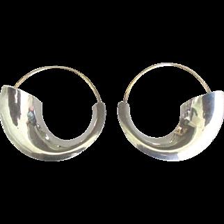 Large Sleek Modernist Sterling and Gold Fill Pierced Earrings