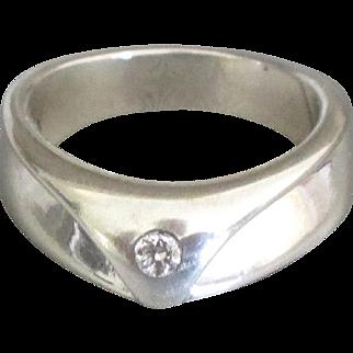 Stunning Sleek Sterling Diamond Ring- Size 8 1/4