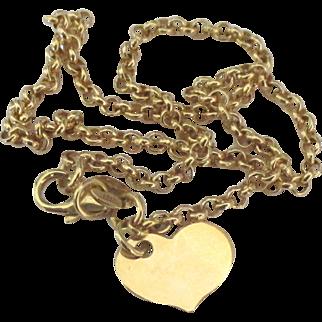 Lovely Vintage Italian 14K Gold Ankle Bracelet with Heart Dangle