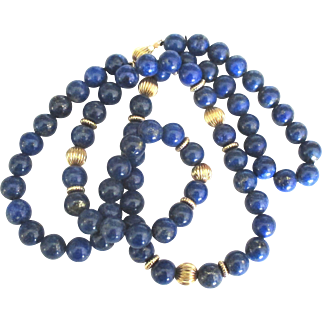 Beautiful Vintage 14K Lapis Bead 24 Inch Necklace