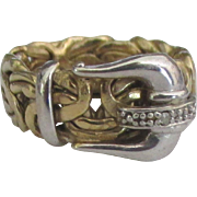 Gorgeous Vintage Gold over Sterling Buckle Ring- Size 5 1/2