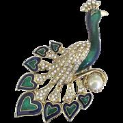 Large Vintage Rhinestone Enamel Peacock Brooch