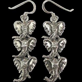Charming Sterling Triple African Elephant Head Pierced Earrings