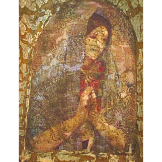 Vintage St. Mary Carved Wooden Grotto
