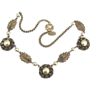 Signed Miriam Haskell Flower Necklace with Faux Pearl