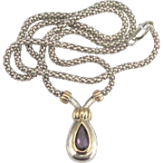 Lovely Signed Sterling 18K Sterling Amethyst Necklace