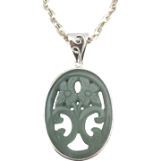 Large Sterling Carved Aventurine Pendant with Fancy Bale and Chain