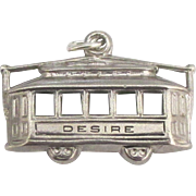 Large Vintage Sterling New Orleans Streetcar Desire Charm