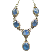 Lovely Sterling Blue Quartz Cabochon Necklace