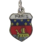 Vintage Paris France Enamel 800 Silver Travel Shield Charm