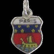 Vintage Paris France Enamel 800 Silver Travel Shield Charm