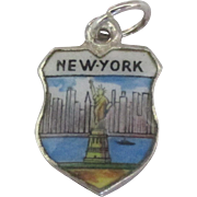 Vintage New York Enamel 800 Silver Travel Shield Charm