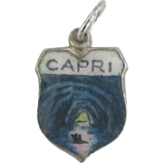 Vintage Isle of Capri Italy Enamel 800 Silver Travel Shield Charm