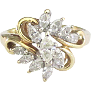 Fabulous Mid Century 14K 1 1/3 tcw Diamond Ring- Size 6