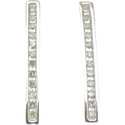 Lovely 10K White Gold Diamond Pierced Earrings