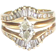 Stunning 14K Marquis and Baguettes Diamond Ring- Size 7 1/2